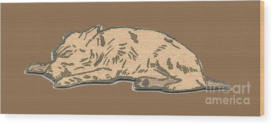 My Dog Tricksy Sleeping Wood Print