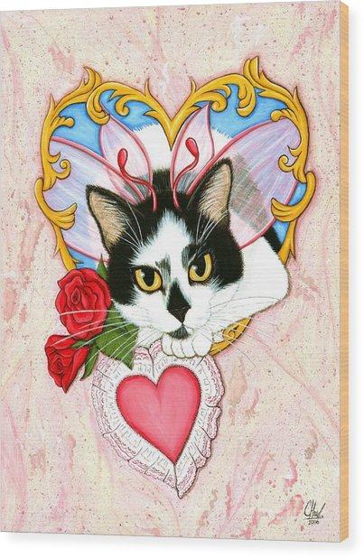 My Feline Valentine Tuxedo Cat Wood Print