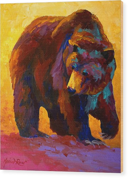 My Fish - Grizzly Bear Wood Print