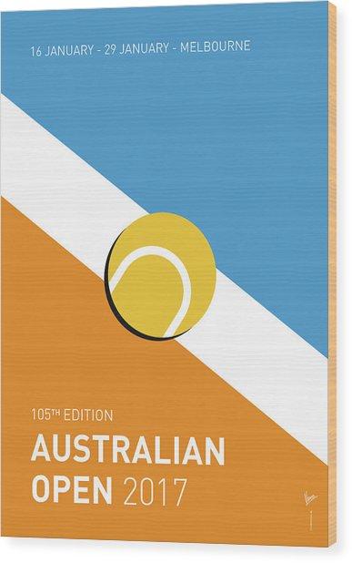 My Grand Slam 01 Australian Open 2017 Minimal Poster Wood Print