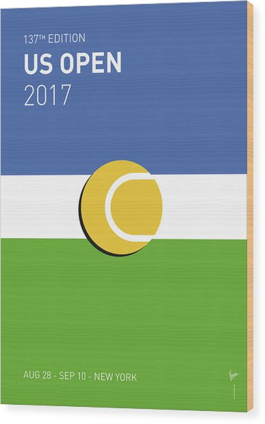 My Grand Slam 04 Us Open 2017 Minimal Poster Wood Print