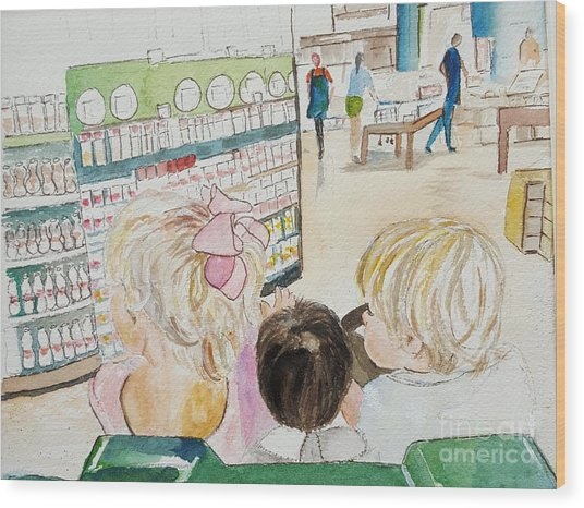My Grandkids At The Grocery Store Wood Print
