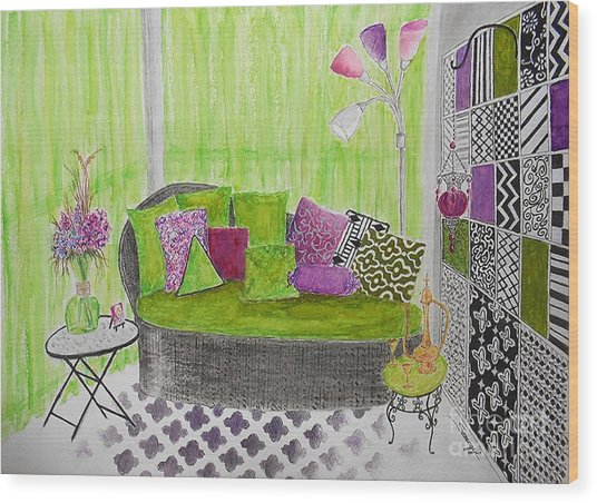 My Happy Place -- Drawing Of Colorful Moroccan Porch Wood Print