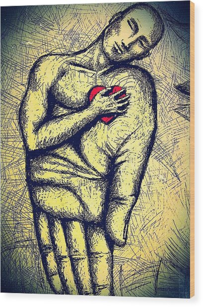 My Heart In Your Hand Wood Print by Paulo Zerbato