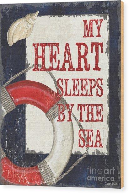 My Heart Sleeps By The Sea Wood Print