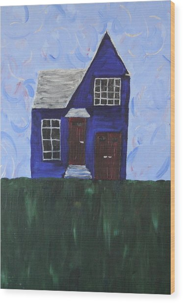 My House Wood Print by Tracy Fetter