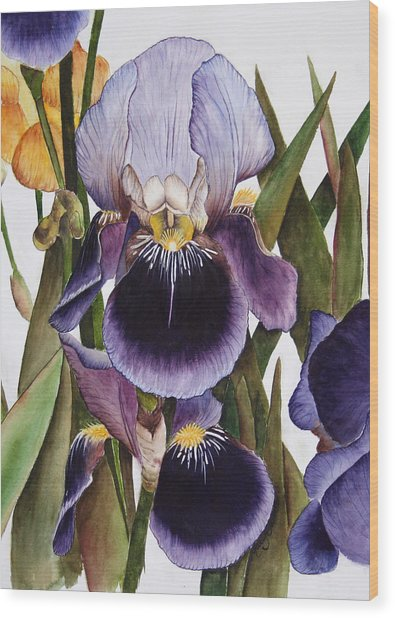 My Iris Garden Wood Print by Mary Gaines