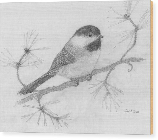 My Little Chickadee Wood Print by Cynthia  Lanka
