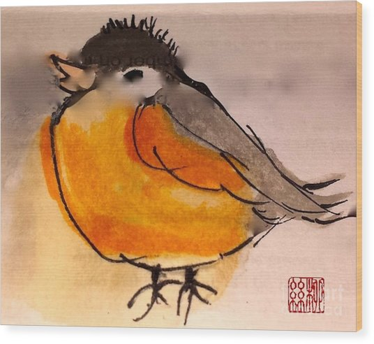 My Little Chickadee Wood Print