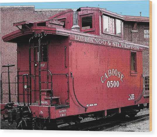 My Little Red Caboose Wood Print