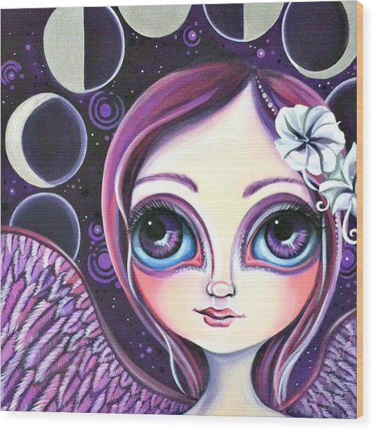 My moon Phase Angel Original Wood Print