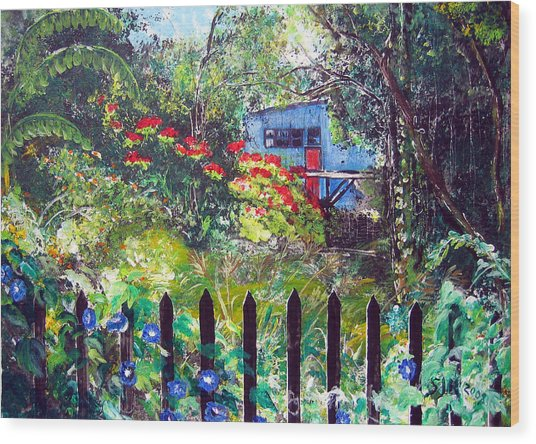 My Neighbors Garden Wood Print by Sarah Hornsby