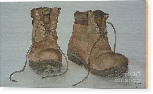 My Old Hiking Boots Wood Print