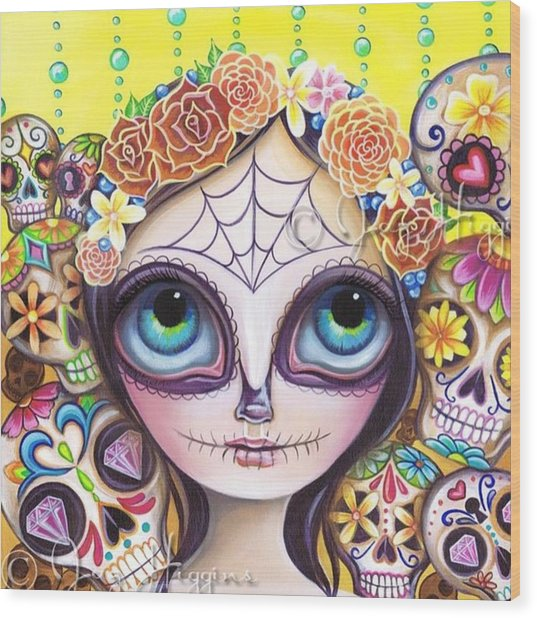 My Original sugar Skull Princess Wood Print