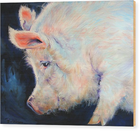 My Pink Pig  For A Lucky Day By M Baldwin Wood Print by Marcia Baldwin