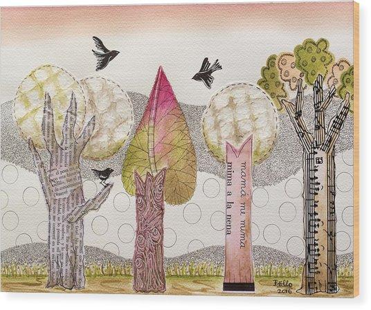 My Pink Trees Wood Print