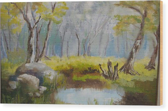 My Pond Wood Print by Mabel Moyano