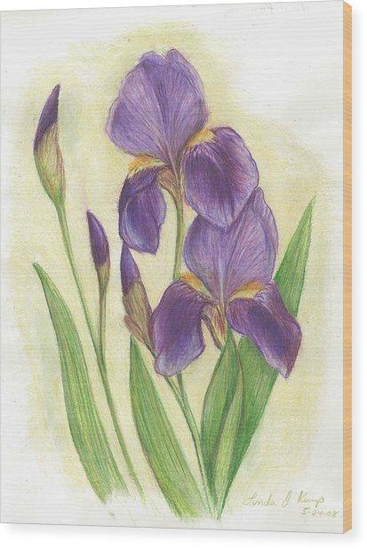 My Purple Irises Wood Print