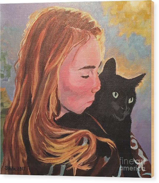 My Purring Friend Whiskers Wood Print