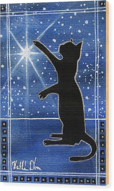 My Shinning Star - Christmas Cat Wood Print