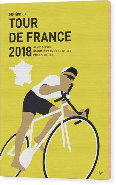 My Tour De France Minimal Poster 2018 Wood Print