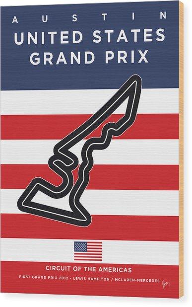 My United States Grand Prix Minimal Poster Wood Print