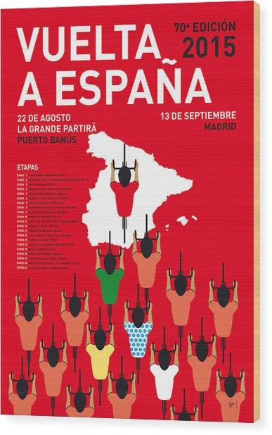My Vuelta A Espana Minimal Poster Etapas 2015 Wood Print
