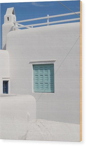 Mykonos Blue In Blue Wood Print by Armand Hebert