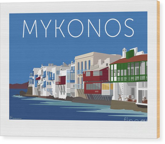 Mykonos Little Venice - Blue Wood Print