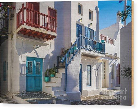 Mykonos Stairs And Balconies Wood Print by Ken Andersen