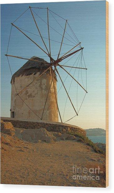 Mykonos Windmill  Wood Print