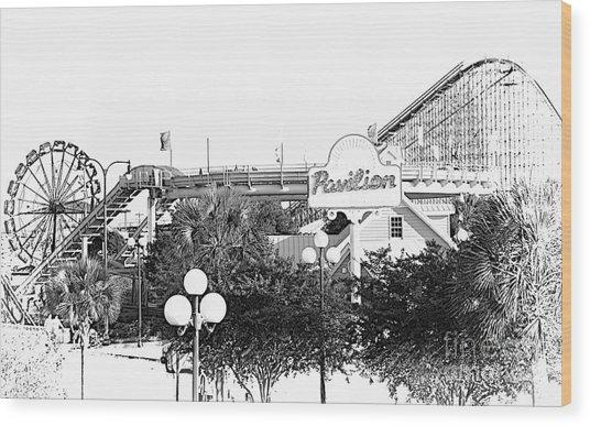 Myrtle Beach Pavillion Amusement Park Monotone Wood Print