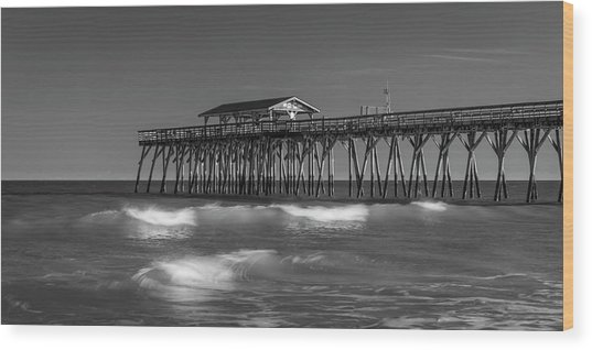 Myrtle Beach Pier Panorama In Black And White Wood Print