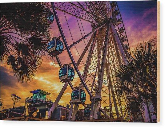 Myrtle Beach Skywheel Wood Print