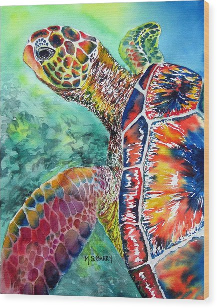 Myrtle The Turtle Wood Print