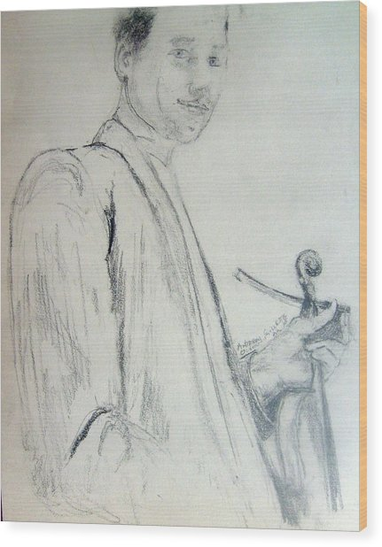 Myself With A Violin Wood Print