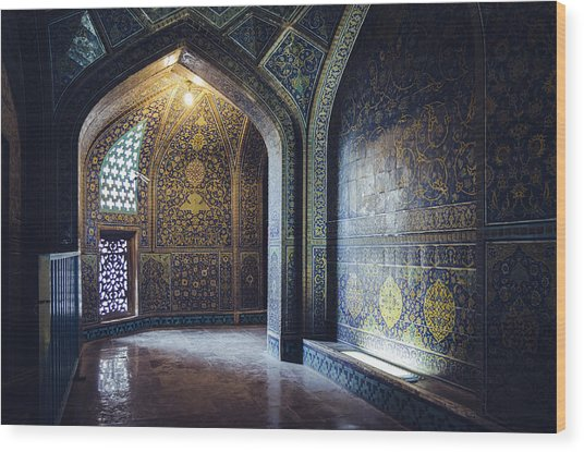 Mysterious Corridor In Persian Mosque Wood Print