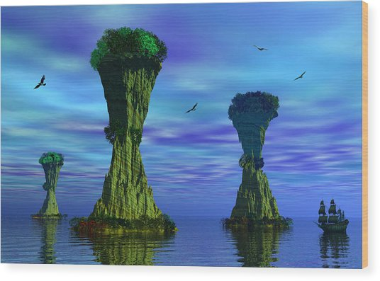 Mysterious Islands Wood Print