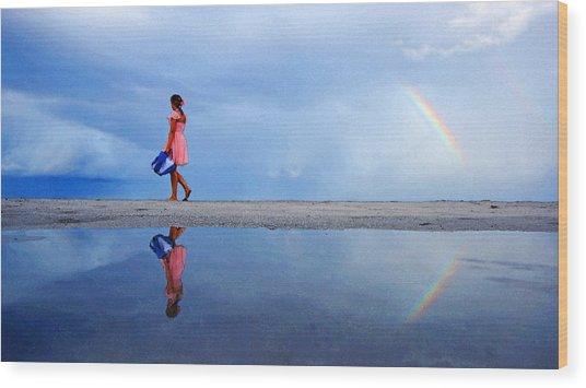 Mysterious Rainbow Girl Wood Print