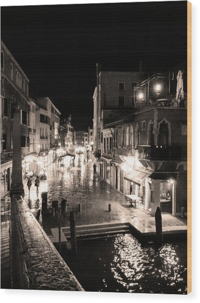 Mysterious Venice Monochrom Wood Print