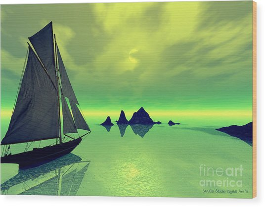 Mysterious Voyage Wood Print by Sandra Bauser Digital Art