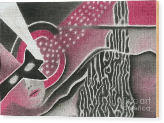 Mystery Woman Wood Print by Christine Perry