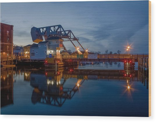 Mystic Drawbridge At Twilight Wood Print
