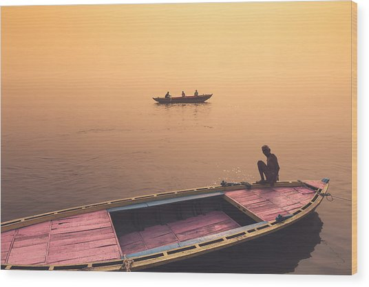 Mystic Ganges Wood Print