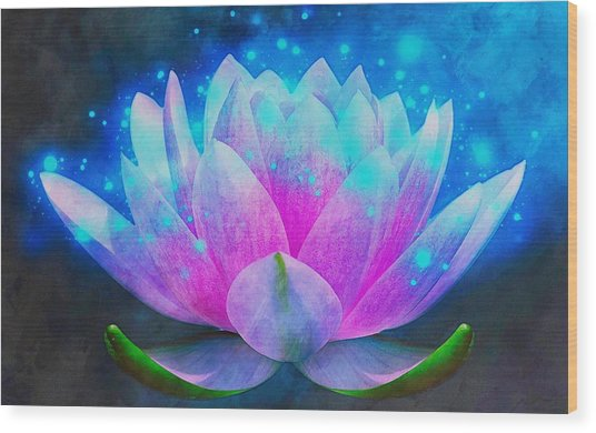 Mystic Lotus Wood Print