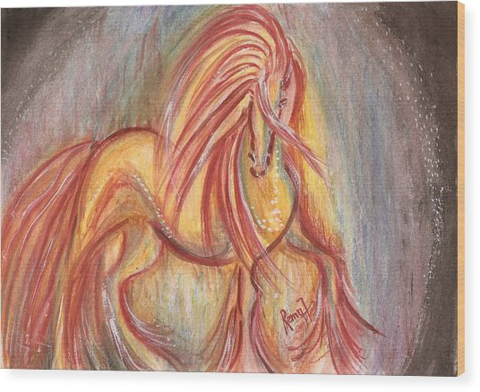 Dancing Abstract Horse Wood Print by Remy Francis