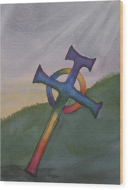 Mystical Celtic Cross Wood Print by Debbie Homewood