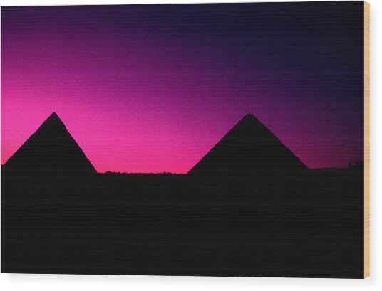 The Pyramids At Sundown Wood Print