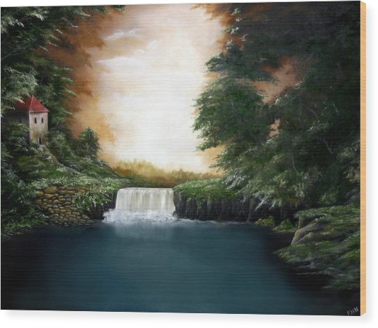 Mystical Falls Wood Print by Ruben  Flanagan