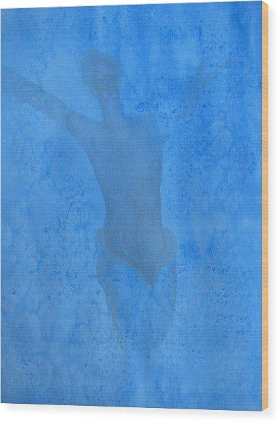 Mystical Merman In Blue Wood Print by Lindie Racz